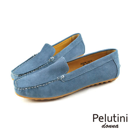 【Pelutini】donna麂皮簡約豆豆鞋/女鞋 藍灰(9035W-GRY)