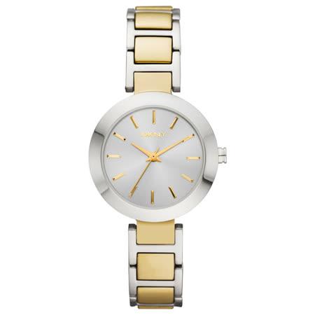 DKNY Stanhope 靚麗優雅仕女腕錶-銀x雙色版/28mm NY8832