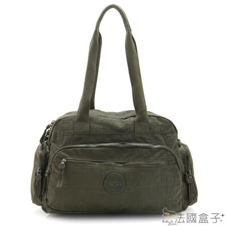 【法國盒子】輕盈多隔層實用肩背包(軍綠)966