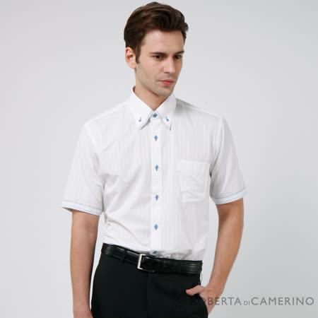 ROBERTA諾貝達 台灣製 涼爽素材 條紋短袖襯衫 白色