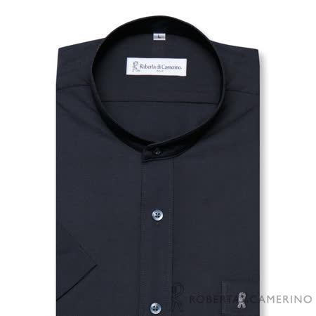 ROBERTA諾貝達 台灣製 清涼節能 圓領短袖襯衫 黑色