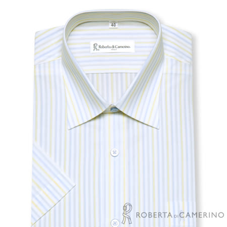 ROBERTA諾貝達 台灣製 陽光率性 條紋短袖襯衫 白色
