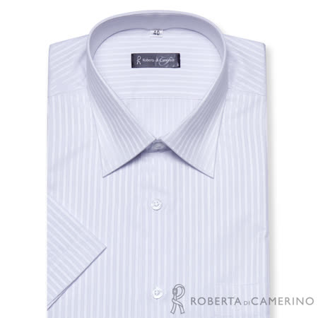 ROBERTA諾貝達 台灣製 型男修身款 條紋短袖襯衫 淺紫色