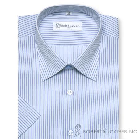 ROBERTA諾貝達 台灣製 品味風格 條紋短袖襯衫 藍色