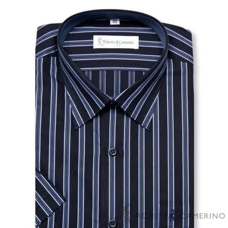 ROBERTA諾貝達 進口素材 台灣製 嚴選穿搭 條紋短袖襯衫 藍色