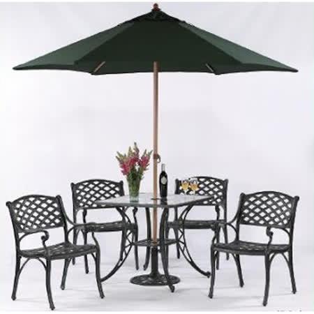 鋁合金2.7尺編織方玻璃桌椅組(全組)