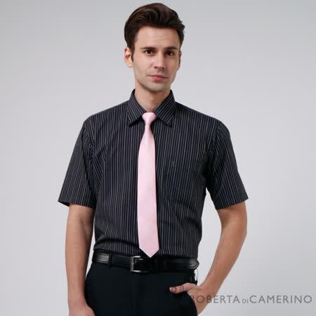 ROBERTA諾貝達 台灣製 經典條紋 短袖襯衫 黑色