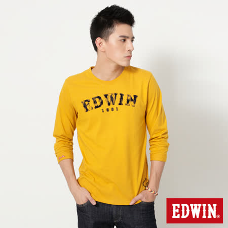 EDWIN 擦色LOGO長袖T恤-男-土黃