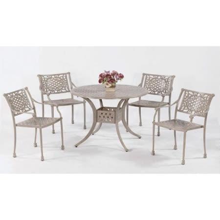 鋁合金3.5尺編織圓桌椅組(一桌四椅)