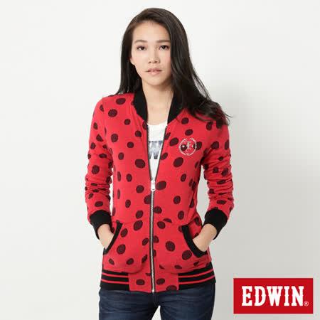 EDWIN 圓點小立領長袖拉T-女-紅色