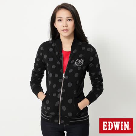 EDWIN 圓點小立領長袖拉T-女-黑色