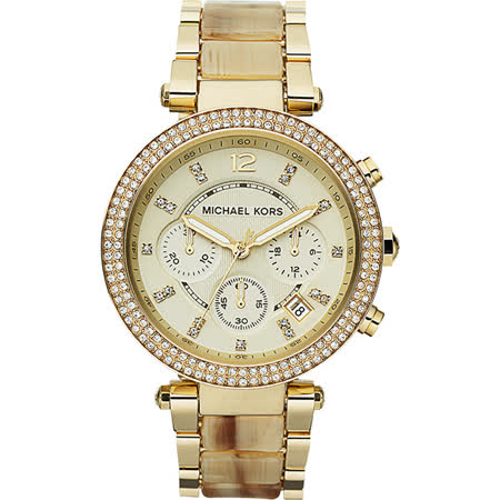 Michael Kors 美式奢華晶鑽三眼計時腕錶-金/38mm MK5632