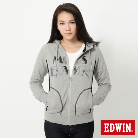 EDWIN 圓點素面長袖連帽拉T-女-麻灰