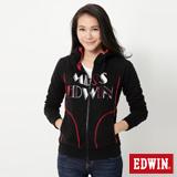 EDWIN 圓點素面長袖連帽拉T-女-黑色