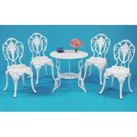 鋁合金2.2尺玫瑰圓桌椅組(一桌四椅)