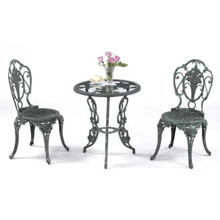 鋁合金2尺玫瑰玻璃圓桌椅組(一桌二椅)
