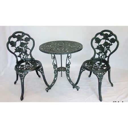 鋁合金2尺玫瑰桌椅組(一桌二椅)