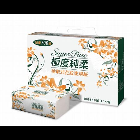 【Super Pure 極度純柔】抽取式花紋家用紙150抽x84包/箱