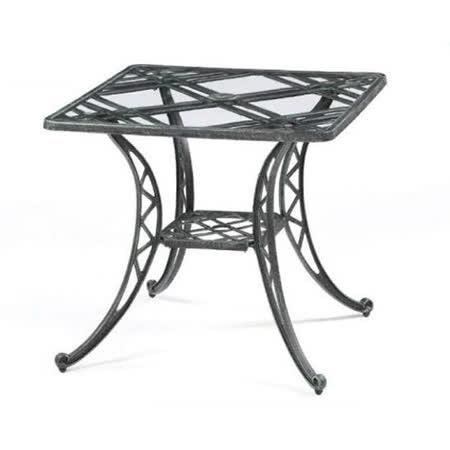 鋁合金2.7尺編織方玻璃桌