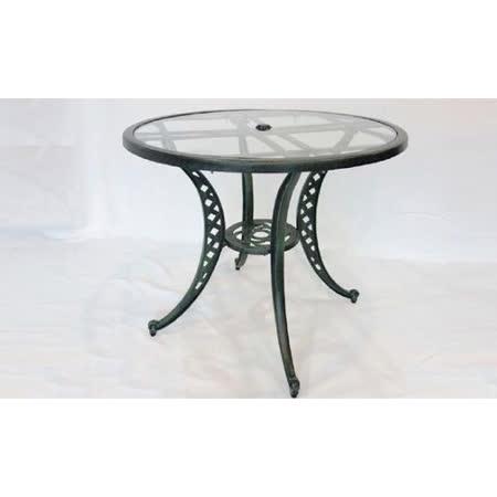 鋁合金3尺編織玻璃圓桌