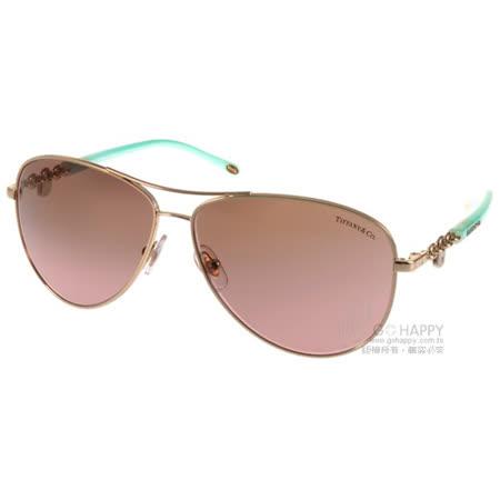 Tiffany&CO.太陽眼鏡 水鑽金鑰飛官款(玫瑰金-蒂芬妮綠) #TF3034 60219T