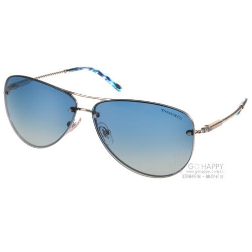 Tiffany CO.太陽眼鏡 典藏飛官款^(銀~藍^) ^#TF3039B 60514L