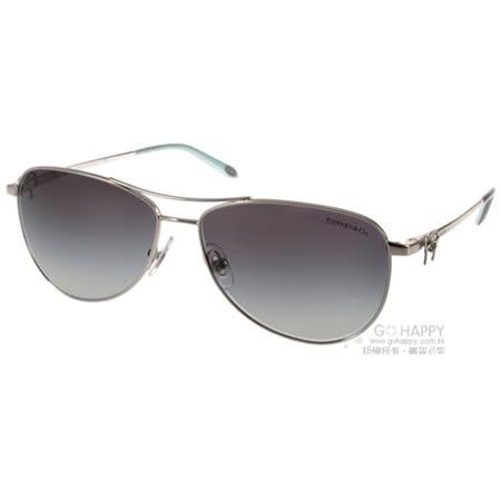 Tiffany&CO.太陽眼鏡 典雅蝴蝶結人氣飛官款(銀) #TF3044 60473C