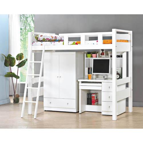 米蘭白色高架床(不含衣櫥、書桌)