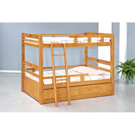 彩伊3.5尺實木雙層床(全組)(不含床墊,含抽屜櫃)