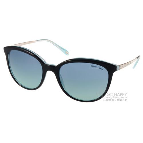 Tiffany CO.太陽眼鏡 奢華簡約貓眼款^(黑~銀^) ^#TF4117B 8193