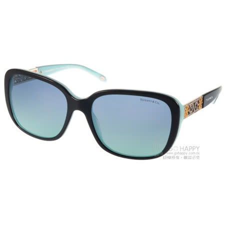 Tiffany&CO.太陽眼鏡 典雅時尚方框款(黑-蒂芬妮綠) #TF4120B 80559S