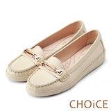 CHOiCE 減壓舒適款 牛皮五金飾釦休閒平底鞋-米色