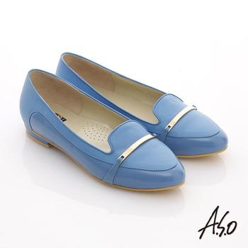 【A.S.O】俐落職場 全真皮妝點條帶窩心尖頭平底鞋(淺藍)
