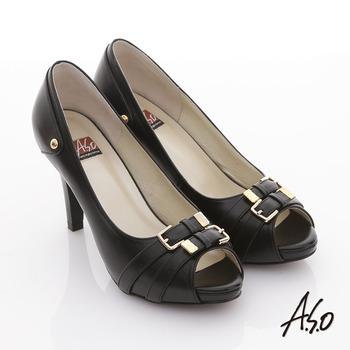 【A.S.O】玩美彈力II 全真皮皮帶金屬釦飾魚口跟鞋(黑)