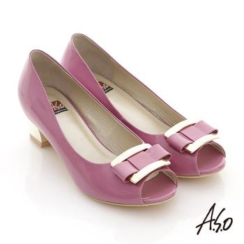 【A.S.O】俐落職場 全真皮金屬蝴蝶結飾釦魚口跟鞋(粉紅)