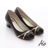 【A.S.O】完美彈麗 壓紋真皮金屬條裝飾魚口跟鞋(黑)