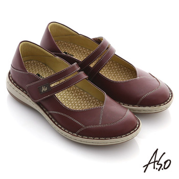【A.S.O】彈力勁步 蠟感真皮魔鬼氈奈米氣墊鞋(紫紅)