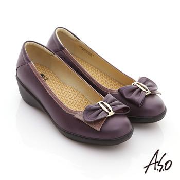 【A.S.O】新3E耐走 全真皮蝴蝶氣墊休閒鞋(紫)