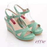 【effie】輕音躍系列 夏日沁甜亮彩全真皮楔型涼鞋(淺綠)