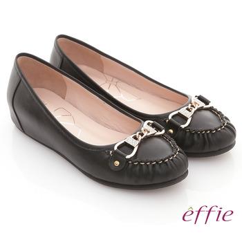 【effie】俏麗悠活 全牛皮水鑽金扣內增高平底鞋(黑)