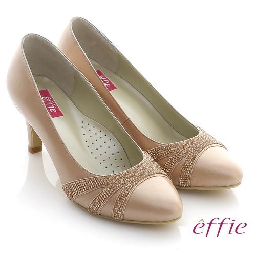 ~effie~華麗響宴 MIT全真皮水鑽珠光宴會跟鞋^(粉橘^)