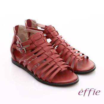 【effie】慵懶旅行 真皮手工編織羅馬涼鞋(紅)