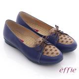 【effie】活力勁步 全牛皮格紋綁帶休閒平底鞋(藍)