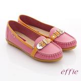 【effie】輕量樂活 真皮寬楦配色奈米平底鞋(粉紅)