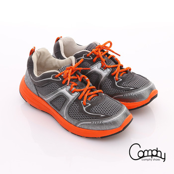 【Comphy】3D氣動鞋 全真皮透氣網布運動鞋-男款(深灰)