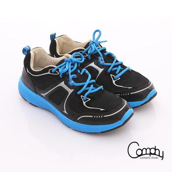 【Comphy】3D氣動鞋 全真皮透氣網布運動鞋-男款(黑)