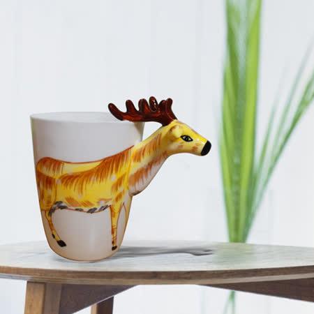 3D動物造型手繪風陶瓷杯- 梅花鹿(350ml) 加碼送貼心茶包架