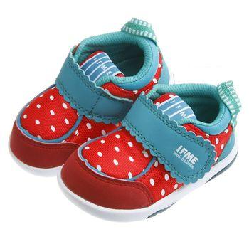 IFME草莓圖樣紅色寶寶機能學步鞋