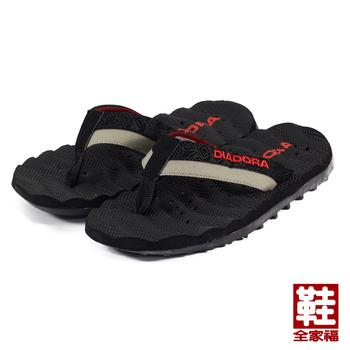 (男) DIADORA 波紋夾腳運動拖鞋 黑 鞋全家福