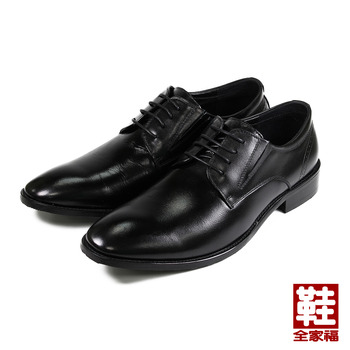 (男) JASON HOUSE 真皮素面綁帶紳仕皮鞋 黑 鞋全家福